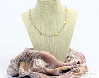 Labrodoriate and Gold Coin Necklace