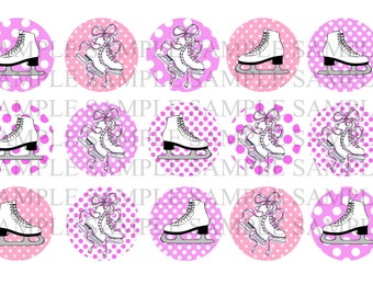 Ice Skating Bottle Cap Image Sheet INSTANT DOWNLOAD - Girly Girls - 1 Inch Bottle Caps Digital Collage Personal and Commercial Use