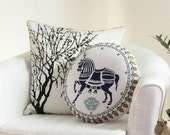 Nordic Horse Round Pillow Cover Boho Indie Scandanavian Throw Pillow Cushion New Baby Nursery Decoration Aztec Horse Scandie Shabby Chic