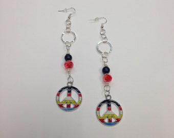 Multicolor PEACE Dangle Earrings