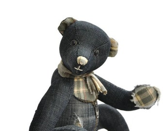 Eco Teddy bear - Jeans Recycled Artist Teddy Bear Jesse
