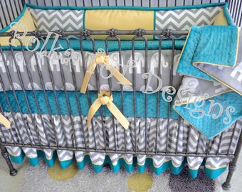 Teal Yellow & Gray Crib Set  Elephants and Chevron