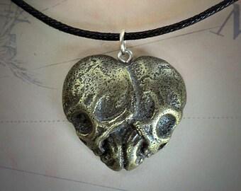 Skull Heart Necklace in brass