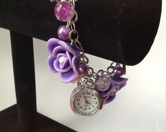 Charm Bracelet, functional watch, roses pendent, choice of colors