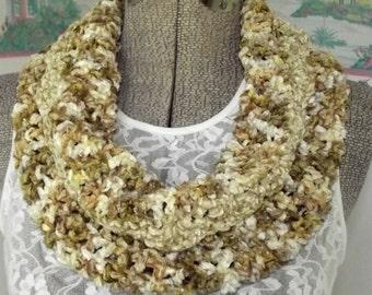 Handmade Crochet Cowl Collar Rayon Chenille Golden Honey Maple Cream Neutral Thick Soft Scarflet