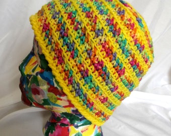 Crochet Bright Yellow Hat, Ladies Teens, Ski Outdoor Activities Cap, Winter, Multicolor, Easy Care Acrylic