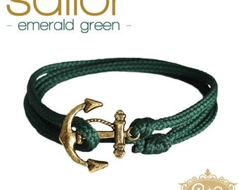 cute & twisted - emerald green sailor wrap bracelet