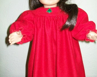 Christmas Nightgown in Red Polyester for the American Girl or 18 Inch Doll