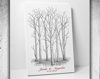 Our Wedding Tree Wedding Gift Guestbook alternative tree poster Thumb Prints Tree guest book alternative with Love Birds #M