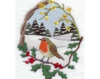 SINGLE Robin Winter Scene EMBROIDERED 15 x 25 inch Kitchen / Bathroom hand Towels