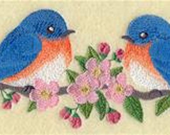 6 pc SET  BATh towels - Blossoms and Bluebirds - Embroidered
