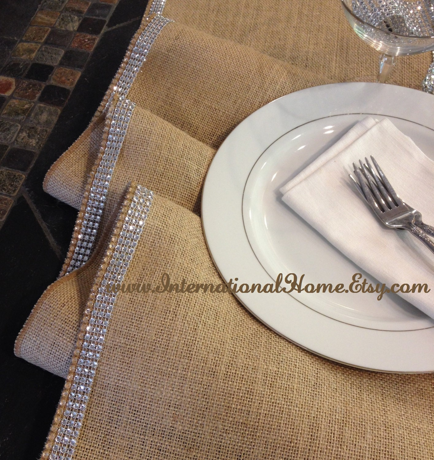 Glam Burlap Sparkle Ribbon Table Runner 12 Wide By