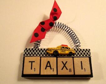 Taxi Scrabble Tile Ornament
