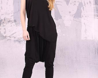 Black woman pants, long loose oriental pants, extravagant pants, harem pants, loose pants, oriental pants, women's pants, gift  - UM-040-VL