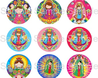 "15 1"" - Precut Bottle Cap Circle Images - Virgencita Plis Mix Inspired"