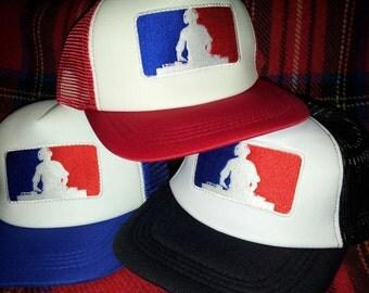 Vintage Style Mesh Trucker Cap Hat Major League DJ Patch Badge Hip Hop Rap Urban