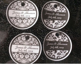 PERSONALIZED Round Wedding DAMASK Thank You Favor Gift Tags