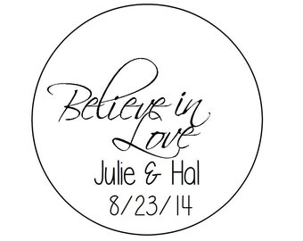 PERSONALIZED Round Wedding Favor Thank You Tags Believe in Love Hang Tag