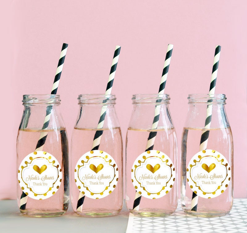 pink and gold baby shower favors glass milk bottles by modparty