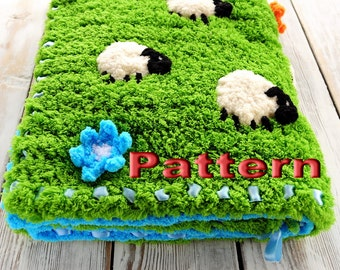 Crochet pattern Baby Blanket with Sheeps PDF - Instant Download