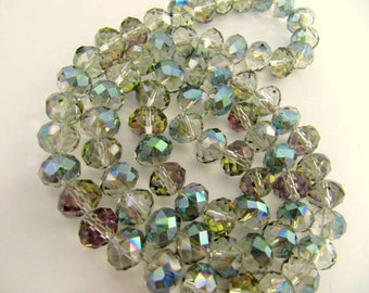 Glass Bead, Electroplate, Half Plated, Faceted, Rondelle, 10x8mm, Green, Aqua, 72 piece, Jewelry supply