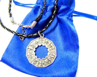 Mayan Pendant Charm, Mayan Glyph, Pendant, Totem, Necklace, Faux Leather Cord, Gift, Satin Pouch
