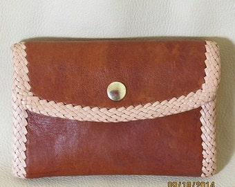 All leather clutch purse handmade