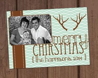 Chevron Antler Christmas Photo Card