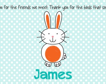 Personalized Placemat - Kids Placemat - Childrens Placemat - Prayer Placemat - Easter Placemat - Bunny Placemat - Easter Gift - Bunny Boy