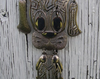 Vintage Alan Dog Necklace Articulated Puppy Dog Necklace  Large Silver-Tone Articulated  Dog Necklace Pendant Stamped Alan