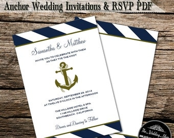 """Instant Download- Navy, White & Gold Nautical Stripe Anchor DIY 5"""" x 7"""" Wedding Invitations With Matching 3.5"""" x 5"""" RSVP Cards Printable PDF"""