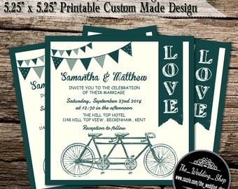 "Modern Tandem Bicycle Wedding Invitations 5.25"" x 5.25"" Printable Custom Made Design"