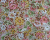 VINTAGE BIRDS and blooms calico FABRIC - 1 3/4 yard