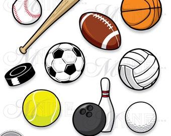 Clip Art Sports Balls Clipart sport ball clip art etsy sports balls clipart digital vector football soccer baseball basketball golf instant download