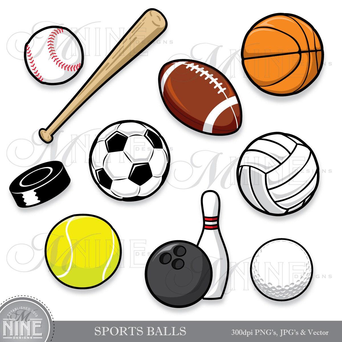 SPORTBÄLLE ClipArt: Clipart Sport Ball digitales von MNINEDESIGNS: https://www.etsy.com/de/listing/170734735/sports-balls-clip-art...