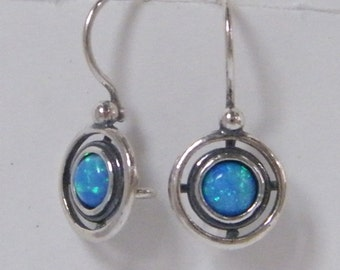 NEW Sterling Silver Double Circle Earrings With Opal
