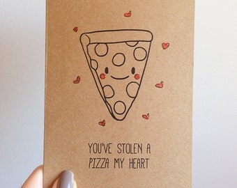 Funny Pizza Pun Card // Quirky Cute Love Italian Takeout Food