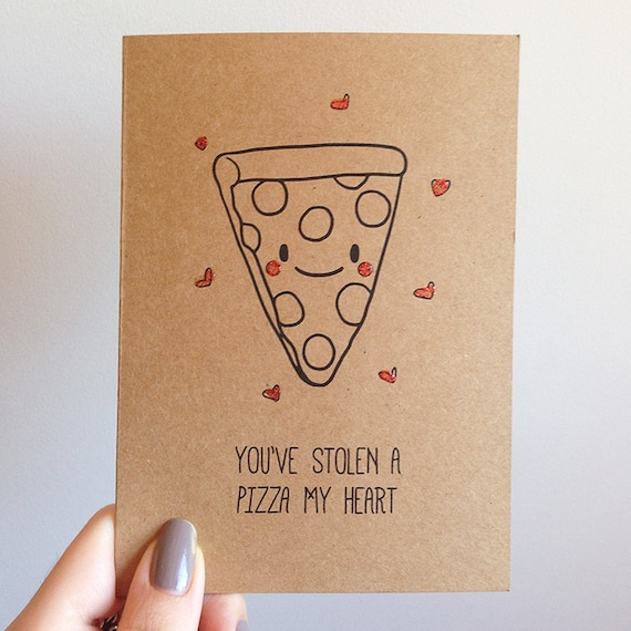 Funny pizza pun card quirky cute love italian takeout food for What to put on a valentines card
