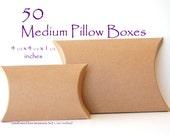 50 Medium Pillow Boxes, Kraft pillow boxes, wedding favor boxes, Bracelet boxes, packaging