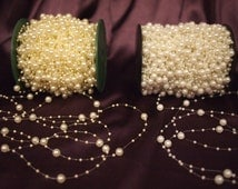 8mm & 3mm Pearl Beads Garland Wedding Decoration (White) 1 meters long