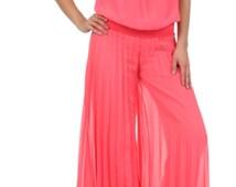 Pleated women jumpsuit coral polyester chiffon palazzo pants wide leg vintage size Small