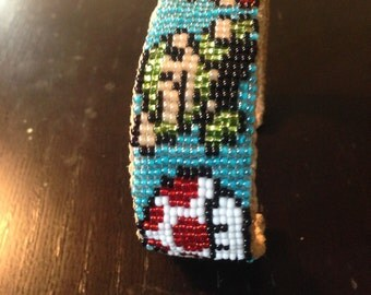 Loom Beaded Mario Brothers Cuff Bracelet
