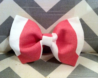 Baby Boy Bow Tie-Coral and White Bow Tie-Clip-on-newborn-infant-toddler-Boys Bow Tie-Coral and White Bow Tie