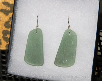 Forest Green Aventurine Stone Slab Earrings