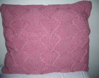 Rose-colored connected hearts pillowcase