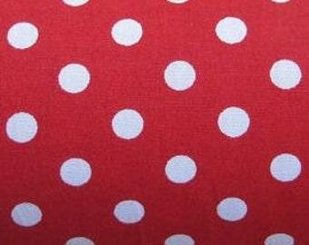 "White on Red - 100% Cotton Poplin Dress Fabric Material - 7mm Polka Dot / Spot - Metre/Half - 44"" (112cm) wide"