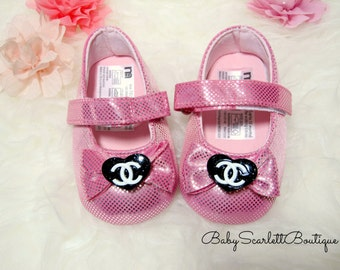 Shiny Pink Baby Girl Shoes,Infant Shoes