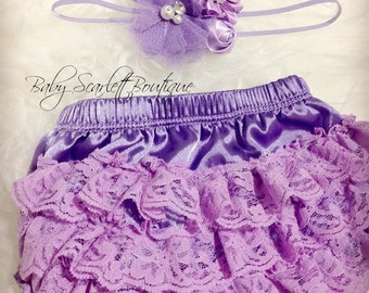 Baby Girl Lavender Lace Ruffle Bloomer,Diaper Cover and Headband Set