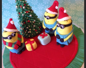 Minion Christmas Cake Topper