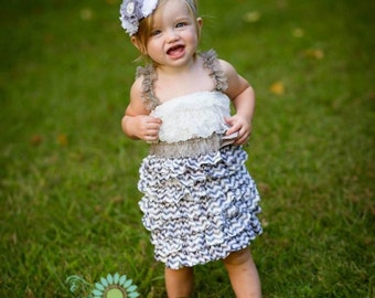 Grey and white shabby rosette headband -  newborn headband - toddler headband